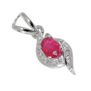 SILVER DIAMOND RUBY PENDANT