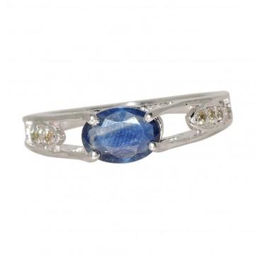SILVER DIAMOND BLUE SAPPHIRE RING