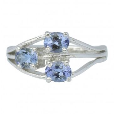 BLUE SAPPHIRE DIAMOND SILVER RING